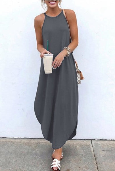 Solid color dovetail sleeveless dress