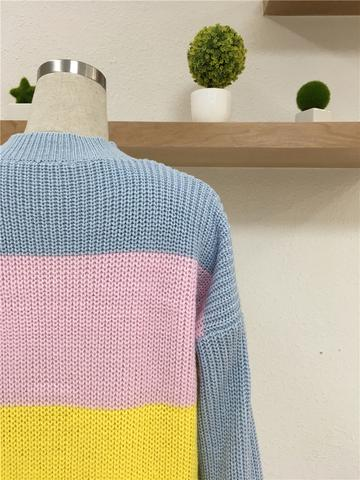 Multi-Color Strip Ol Commuter Sweater