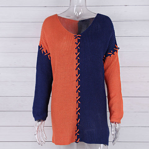 V-Neck Color Matching Sweater