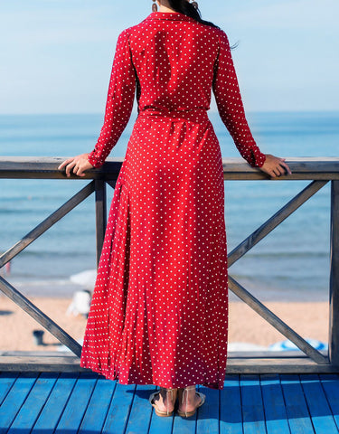 V-neck Long-Sleeved Polka Dot Dress