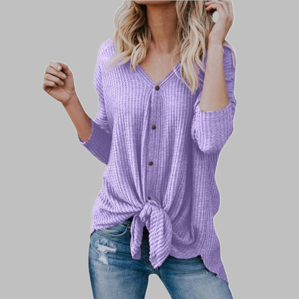 V-neck women's cardigan T-shirt
