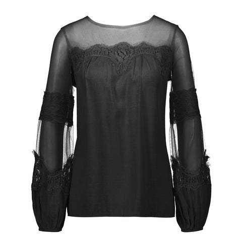 Fashion Lantern-Sleeve Lace Top