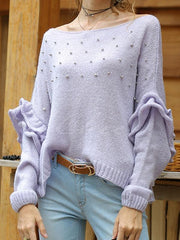 Beaded Trumpet Sleeve Loose One-shouder Sweater