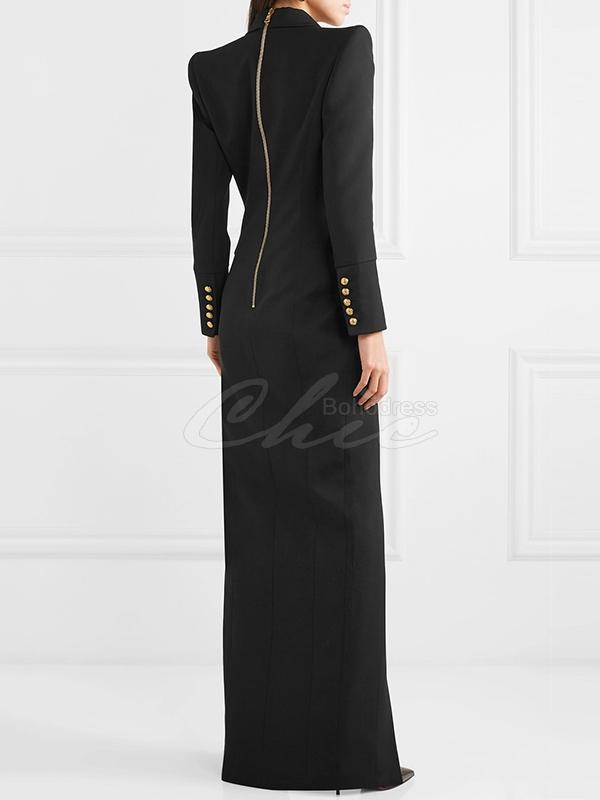 Black V-Neck Zipper Maxi Dress