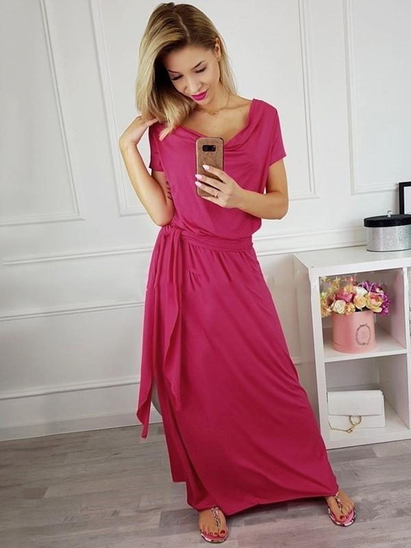 Casual Belted Short Sleeve Maxi Dress
