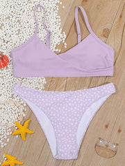 Crossed Floral-Print Floral-Print Split Bikini Swimsuit