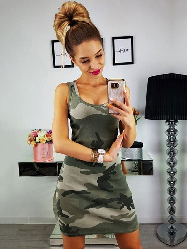 Camouflage Sports Sleeveless Mini Dress
