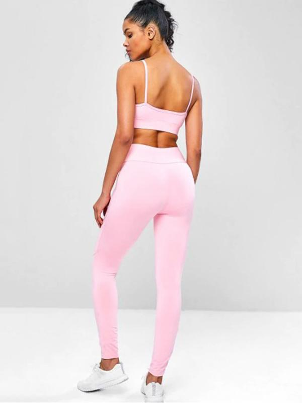Solid Hollow Bra & Leggings Suits