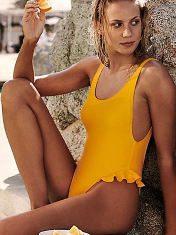 Falbala Backless Plain One-piece Swimwear