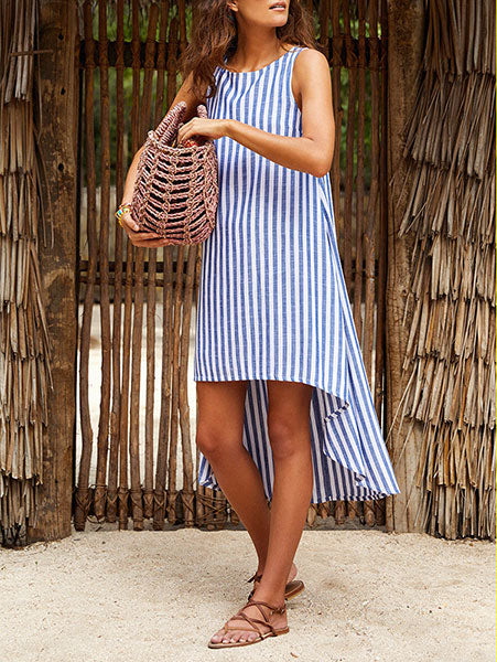 Casual Striped High-Low Dress