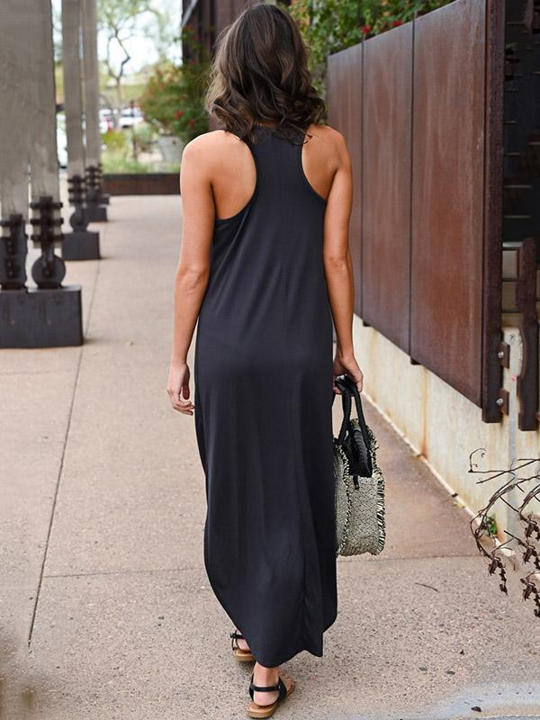 Chic Side Split Irregular Maxi Dress