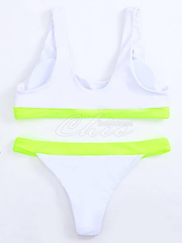 Solid Color Split-Joint Split Bikini Swimsuit
