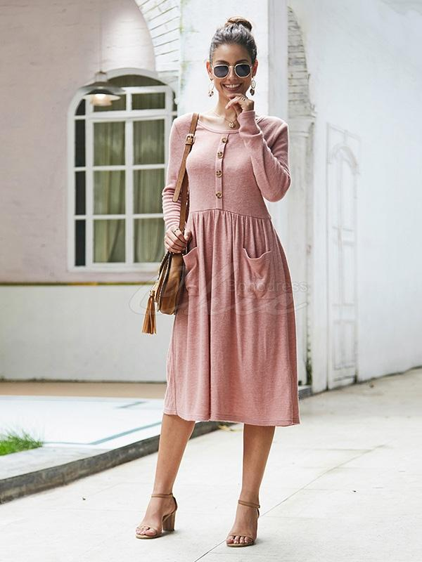 Casual Solid Color Empire Slim Dress
