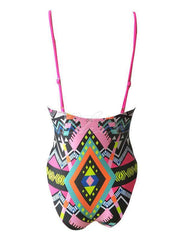 Abstract Printed Spaghetti-Neck One-Piece Swimwear
