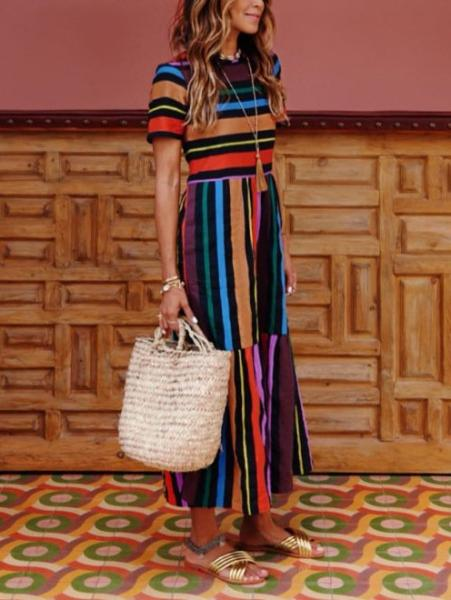 Casual Color Striped Dress