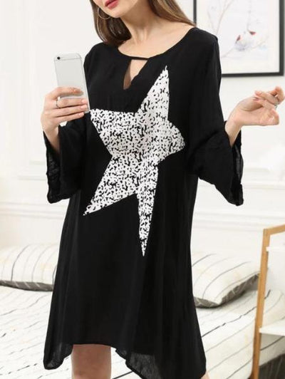 Star Print Black Dress