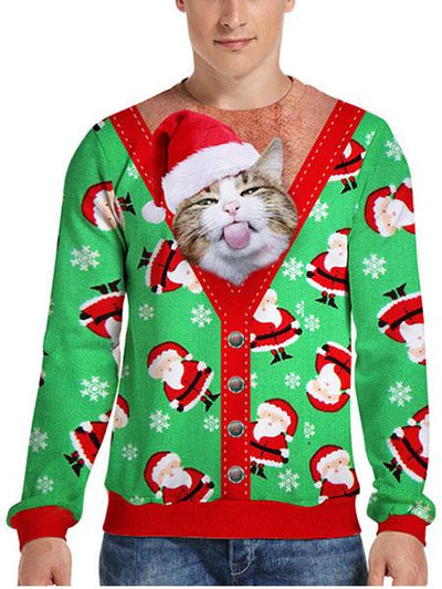 Digital 3D Simulation Christmas Cat Print Shirt