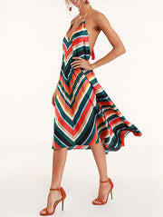 Elegant Multicolor Striped Backless Dress