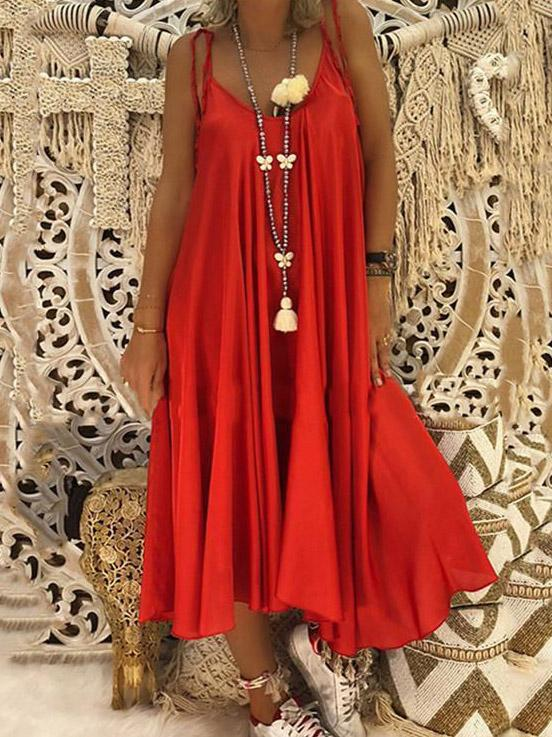 Casual Spaghetti-neck Maxi Dress