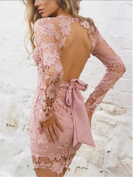 Backless Lace V Neck Bodycon Dresses
