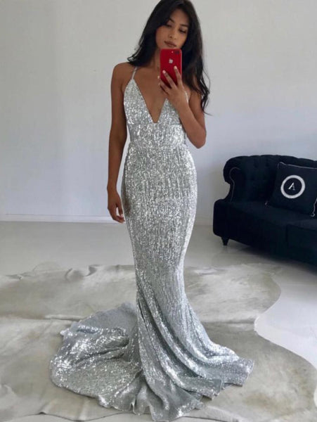 Deep V Backless Sequin Evening Dress