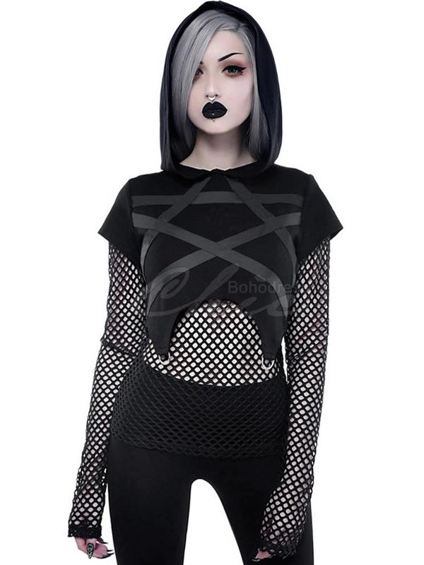Gothic Style Fishnet Body+Sleeves Five-star Hoodies