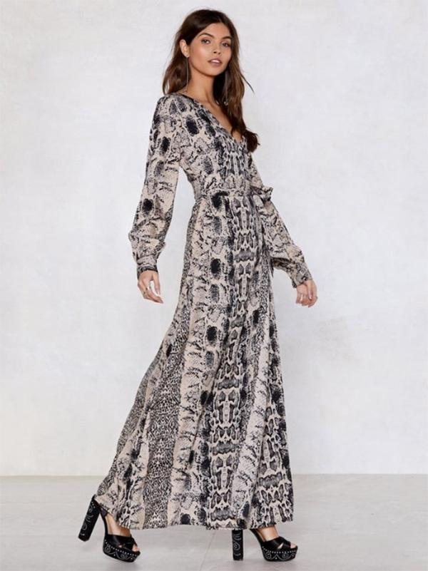Fashion V-neck Leopard Print Long Sleeves Maxi Dress