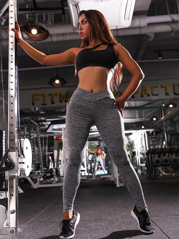 Empire Solid Wrap Sports Yoga Leggings