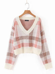 Bare Midriff Plaid V-neck Knitting Sweater