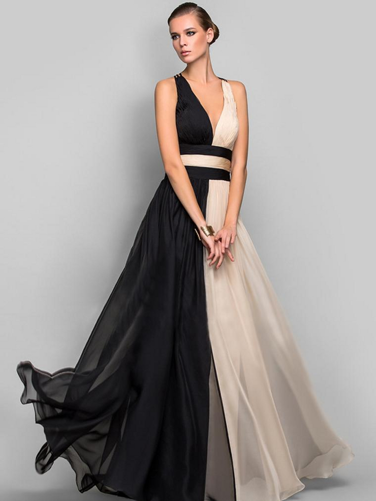 V Neck Sleeveless Evening Dress