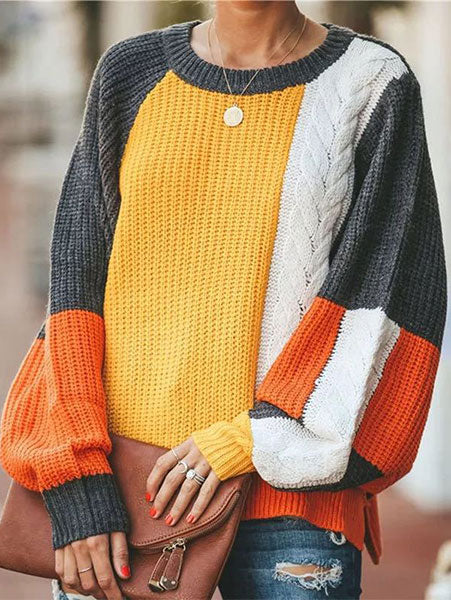 Sweet Lantern-Sleeve Multi-Color Sweater