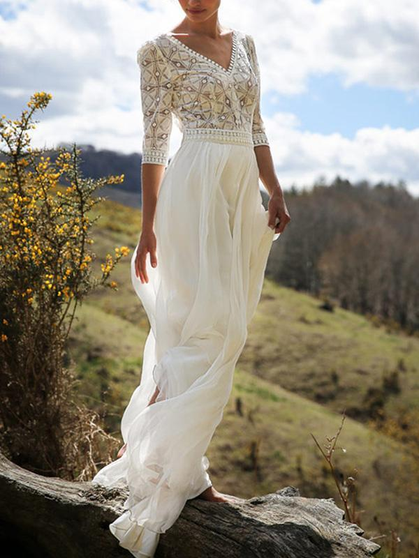 Classical White Lace V-Neck Half Sleeve Maxi Dress
