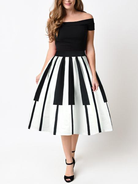 Sweet Piano Print Skirt