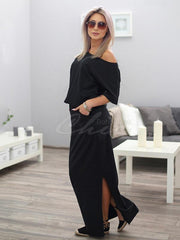 Casual Off-shoulder Long Dress