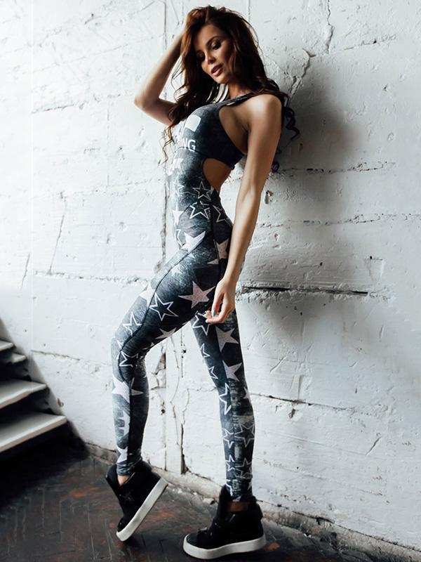 Cut Out Star Printed Yoga Jumpsuits