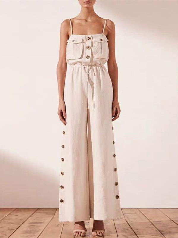 Fashion Casual Spaghetti-neck Fastener Jumpsuits