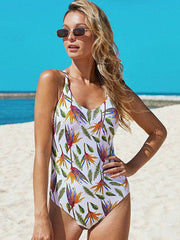 Floral-Print Backless One-Piece Swimwear