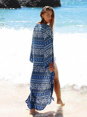 Bohemia Floral-Printed Long Sleeve Beach Cover-Ups