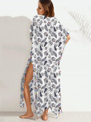 Fashion Tassel Floral-Printed Round Neck Short Sleeve Loose Kaftan Dress