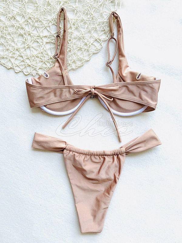 Solid Color Underwired Split Bikini Swimsuit