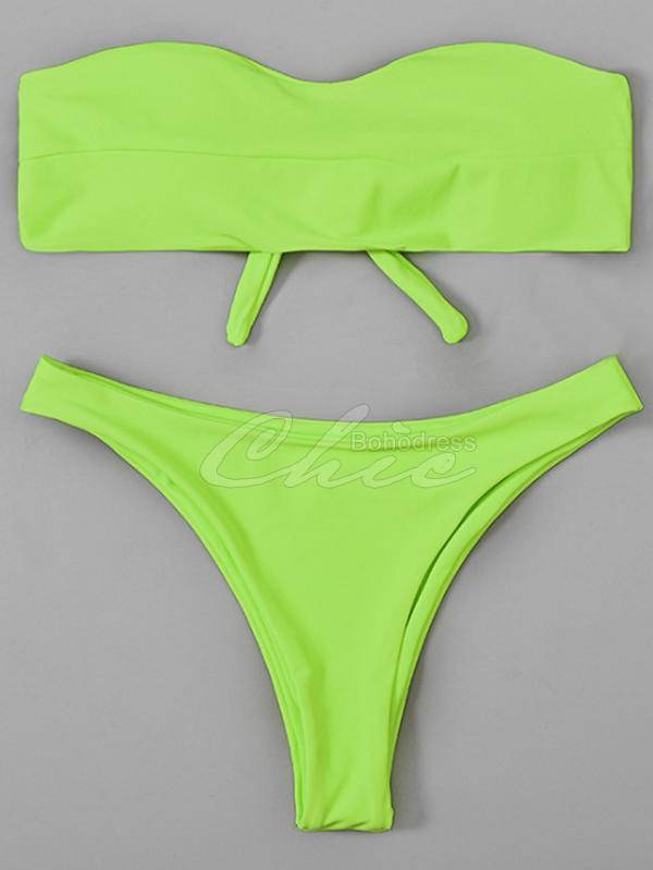 Solid Color Strapless Bandage Bikini Swimsuit