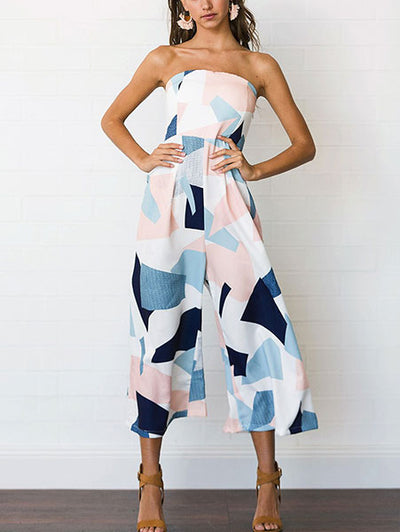 Sweet Geometric Print Jumpsuit