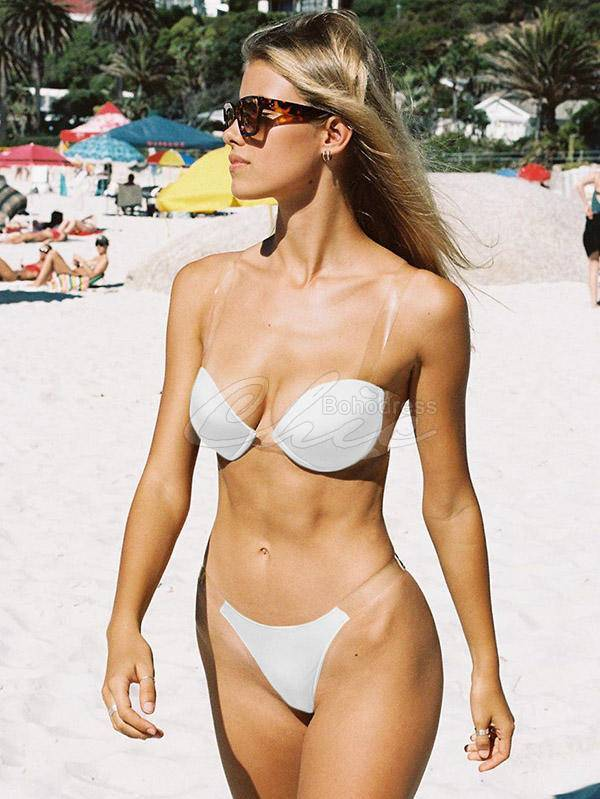 Solid Color See-Through Bandage Split Bikini Swimsuit