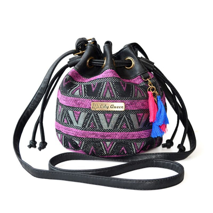 Ethnic Style Tassel Bucket Bag