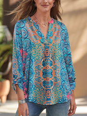 Bohemia Printed V-neck Long Sleeves Blouse&shirt