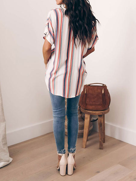 Multicolor Striped Bow-Front Shirt