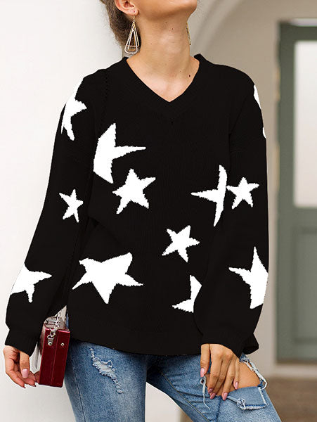 Casual Star Print Round Neck Sweater