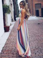 Bohemian Multicolor Striped Maxi Dress
