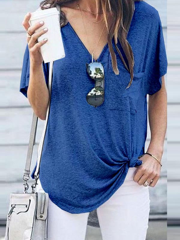 Casual V-neck Cropped T-shirt