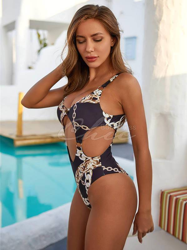 Abstract Printed Hollow One-Piece Swimwear